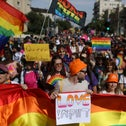 People attending the annual Pride Parade in Jerusalem.