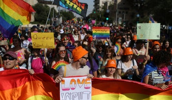 People attending the annual Pride Parade in Jerusalem, today.
