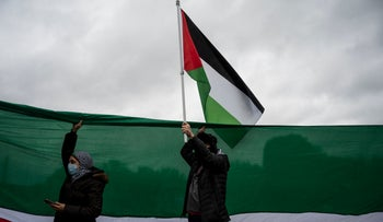 Supporters of Palestine wave flags as they hold a rally at the Lincoln Memorial in Washington DC, last week.
