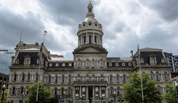 Baltimore City Hall is seen in Baltimore, Maryland, U.S., in 2019.