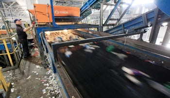 An Aviv Recycling Industries factory in Neot Hovav that recycled bottles made of plastic.