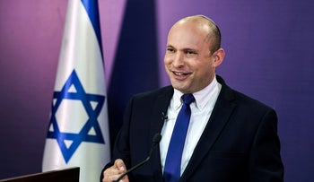 Naftali Bennett gives a statement at the Knesset, Sunday.