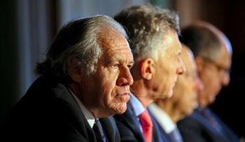Secretary General of the Organization of American States (OAS) Luis Almagro (L) in Miami, Florida, last month.