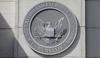 The seal of the U.S. Securities and Exchange Commission is seen at its headquarters in Washington, D.C.