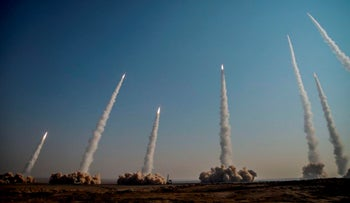 The Iranian Revolutionary Guard launch missiles in a drill in January this year