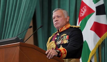 Jordan's King Abdullah II gives a speech during the inauguration of the 19th Parliament's non-ordinary session, in Amman, Jordan, in December.