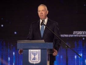 Israel's Education Minister Yoav Gallant in the Israel Prize ceremony, in February.