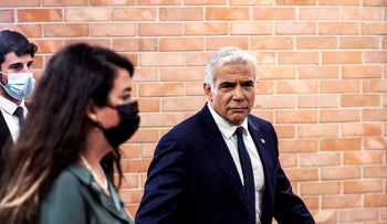 Yair Lapid, Foreign Minister-designate, is seen at the Knesset in Jerusalem today.