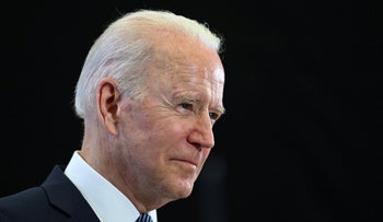 Joe Biden takes part in a press conference near Newquay, Cornwall, Sunday.