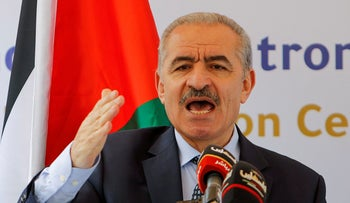 Palestinian Prime Minister Mohammad Shtayyeh speaks during the opening ceremony of a wastewater treatment plant, in Tayasir in the West Bank, in March.