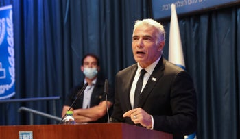Foreign Minister Yair Lapid speaks at the Foreign Ministry in Jerusalem, Monday.
