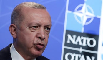 President Tayyip Erdogan at a news conference at the NATO headquarters in Brussels, Belgium on Monday.
