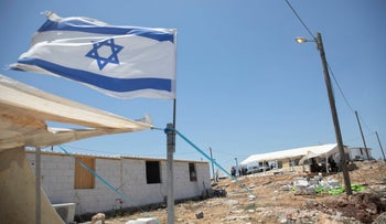 Structures in the unauthorized West Bank settler outpost of Evyatar, earlier this month.