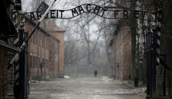 The gate at the site of the former Nazi concentration and extermination camp Auschwitz, in Poland, January.