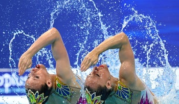 Eden Blecher and Shelly Bobritsky at the European Aquatics Championships in Budapest, Hungary in May.