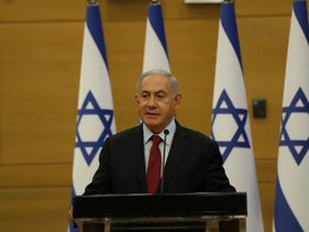 Benjamin Netanyahu speaking to the Likud caucus at the Knesset on Monday.