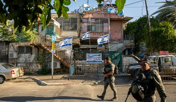 Police in the East Jerusalem neighborhood of Sheikh Jarrah, this month