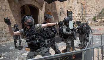 Israel Police officers during protests near Jerusalem's Old City.