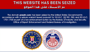 The image circulating on the internet that allegedly shows that presstv.com has been seized by U.S. authorities