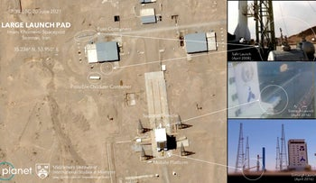 This satellite image provided by Planet Labs Inc. and annotated by experts at the Middlebury Institute of International Studies shows preparation at the Imam Khomeini Spaceport for a satellite launch, in Iran, this week.