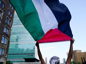 A protester waves a Palestinian flag during a demonstration near the United Nations headquarters lest month
