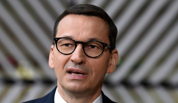 Polish Prime Minister Mateusz Morawiecki at The European Council Building in Brussels on Thursday.