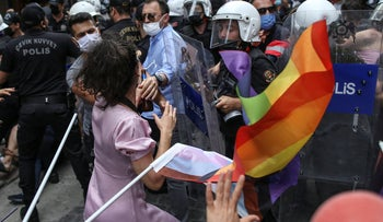 Protesters are detained by police at a Pride event in central Istanbul, Saturday.