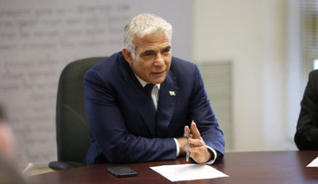 Yair Lapid speaking before the Yesh Atid caucus at the Knesset this past month.