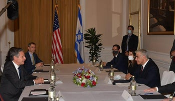 Blinken and Lapid in their meeting in Rome, today