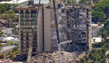The oceanfront condo building that partially collapsed three days ago, resulting in fatalities and many people still unaccounted for, in Surfside, Fla., on Sunday.