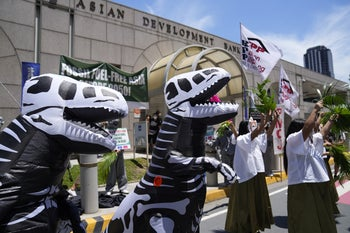 An anti-fossil fuel rally in the Philippines, where in 2019 43 environmentalists were killed, on June 17, 2021.