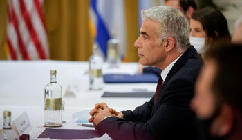 Foreign Minister Yair Lapid at a meeting in Rome, on Sunday.