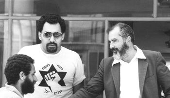 Meir Kahane at a press conference in 1984.