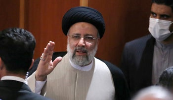 Ebrahim Raisi is pictured during his first press conference since his election in Tehran, last week.