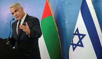 Israeli Foreign Minister Yair Lapid during a news conference in Dubai, United Arab Emirates, on Wednesday.