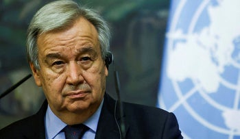 United Nations Secretary-General Antonio Guterres attends a press conference in Moscow.