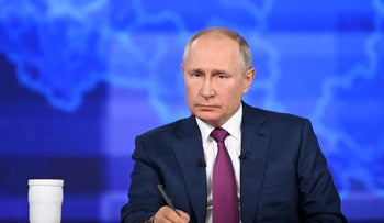 Russian President Vladimir Putin takes part in an annual nationwide televised phone-in show in Moscow, on Wednesday.