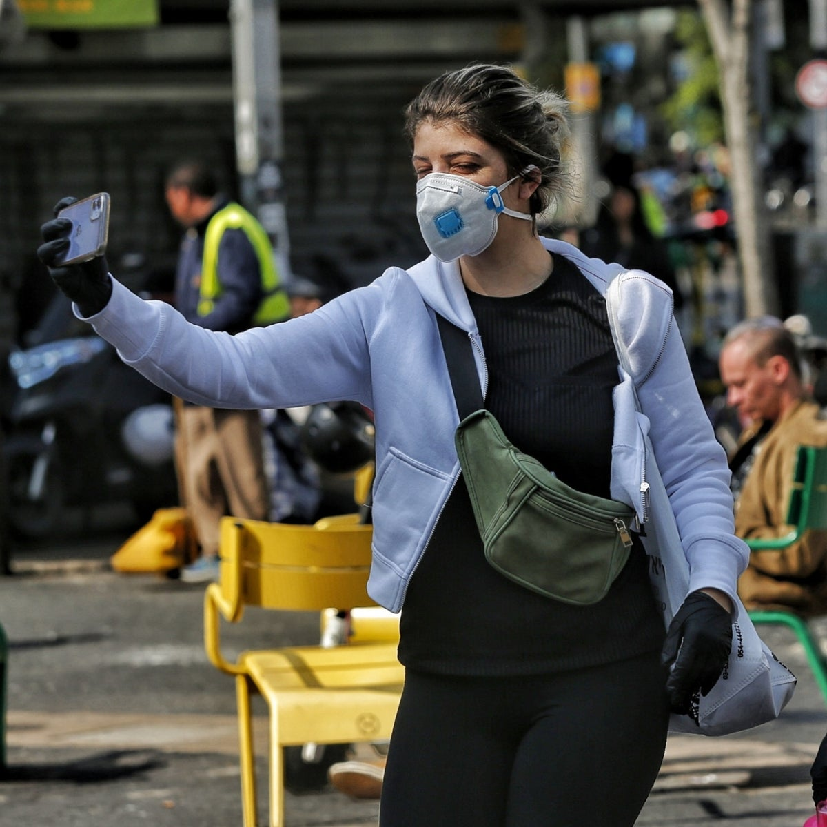 Wearing masks in Tel Aviv. The Shin Bet's capabilities were originally supposed to be used in the struggle against terrorism, espionage and subversion.