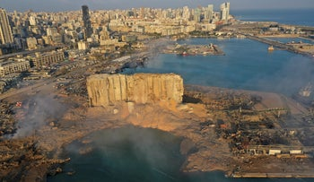 Smoke rises the day after the explosion in August at the seaport of Beirut, Lebanon