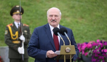 Belarus' President Alexander Lukashenko delivers a speech during a wreath-laying ceremony at a World War Two memorial on Independence Day near Minsk, Belarus July 3, 2021