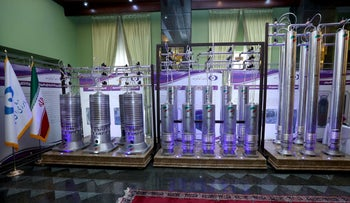 Centrifuges on display at an exhibition in Tehran last month.