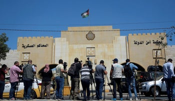 Reporters outside the state security court last month in Amman, Jordan.