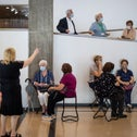 A group of masked women waiting for a tour of the Tel Aviv Museum of Art last month.