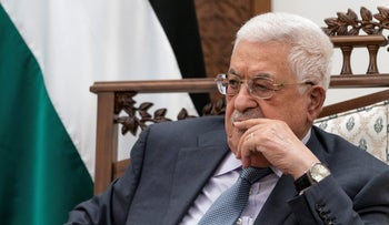Palestinian President Mahmoud Abbas at a joint press conference with U.S. Secretary of State Antony Blinken, in the West Bank city of Ramallah, in May.