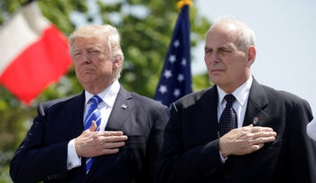Donald Trump, left, and John Kelly in New London, Connecticut in 2017.