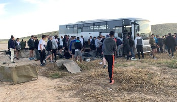 The scene of the 2019 bus accident in the Negev.
