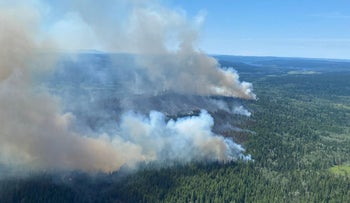 A wildfire raging in British Columbia earlier this month.