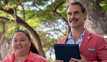 """Jolene Purdy and Murray Bartlett as Lina and Armond in """"The White Lotus."""""""