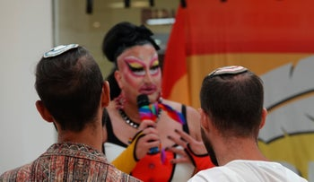 Drag queen Joanna Russ hosting the event in the West Bank settlement of Ariel.