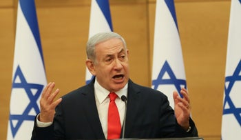 Head of Opposition Benjamin Netanyahu at a Likud faction meeting in the Knesset, on Monday.